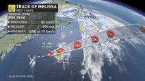 Tropical Storm Melissa funnels moisture to Atlantic Canada