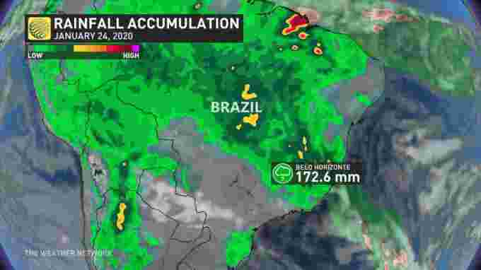 Brazil record rainfall, January 2020