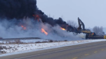 Saskatchewan crude oil train derailment fills sky with smoke, fire