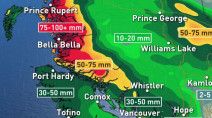 B.C.: Firehose of moisture making for a rainy few days