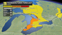 Ontario: Stormy start to the long weekend, rising heat and humidty