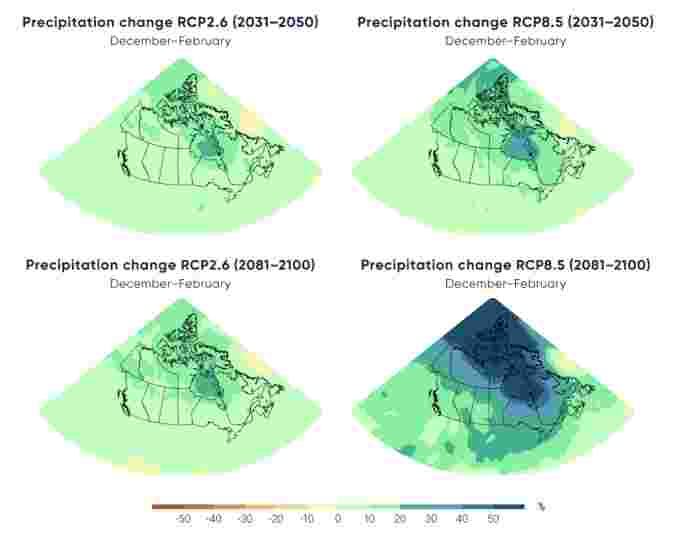 Projected precipitation changes for Winter