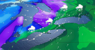 Messy storm setup in Ontario with swath of accumulating snow, rain