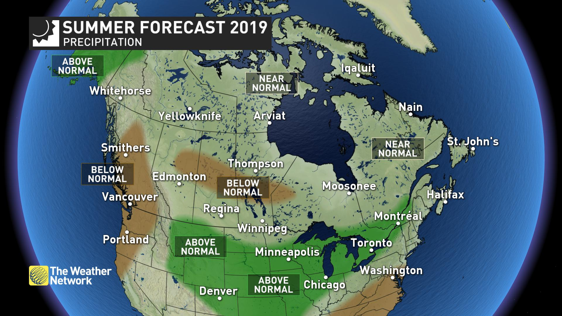 Summer weather forecast suggests cooler temperatures across Canada