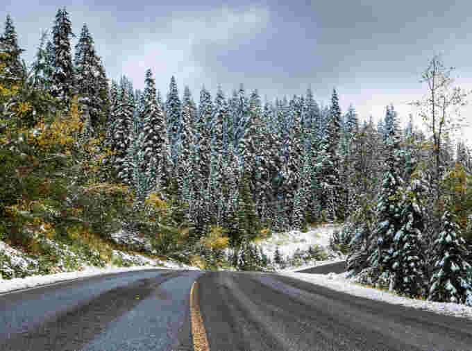 Oct 11, 2020 Kyle Brittain driving through snowy mountains