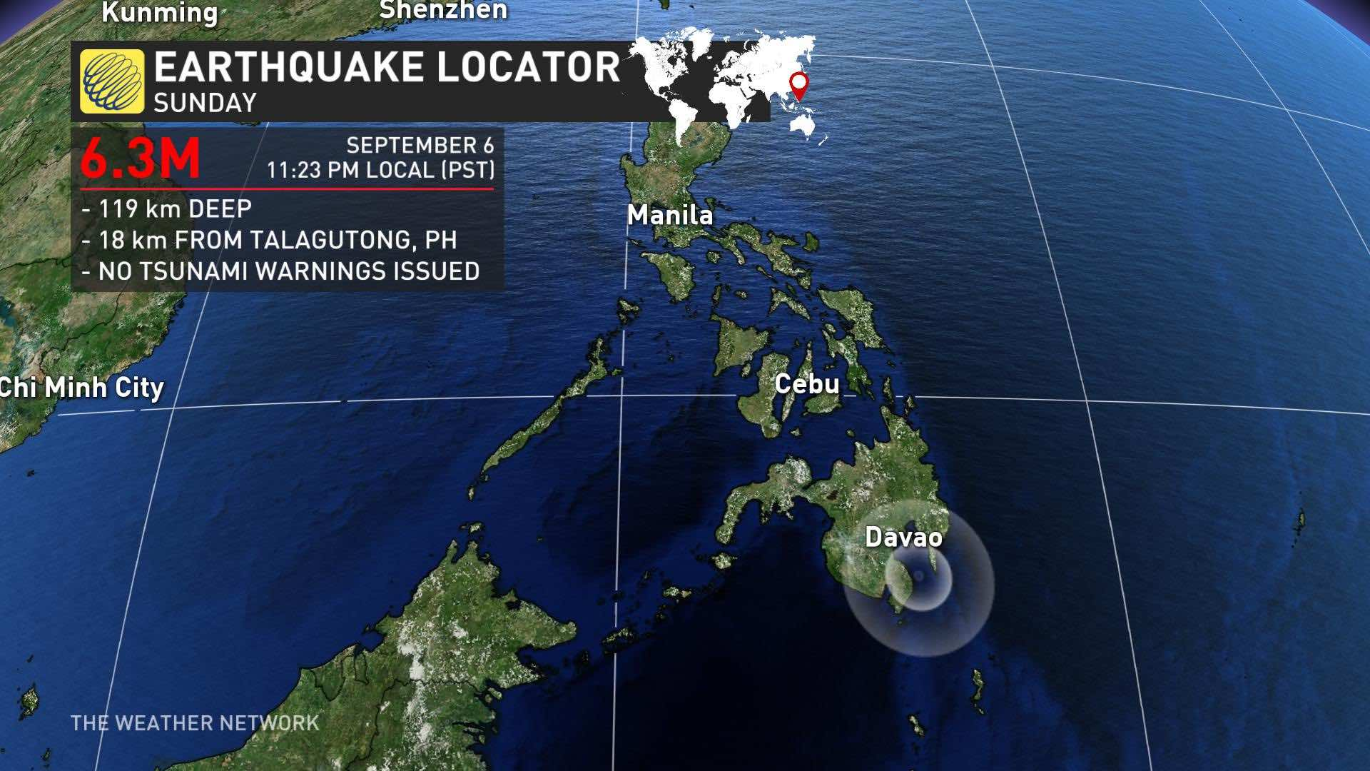3 magnitude quake jolts southern Philippines
