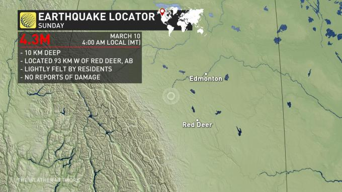 The Weather Network - Magnitude 4 3 earthquake strikes near
