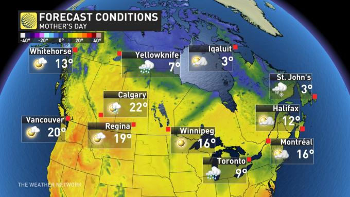 The Weather Network - Complicated Mother's Day forecast, so may need