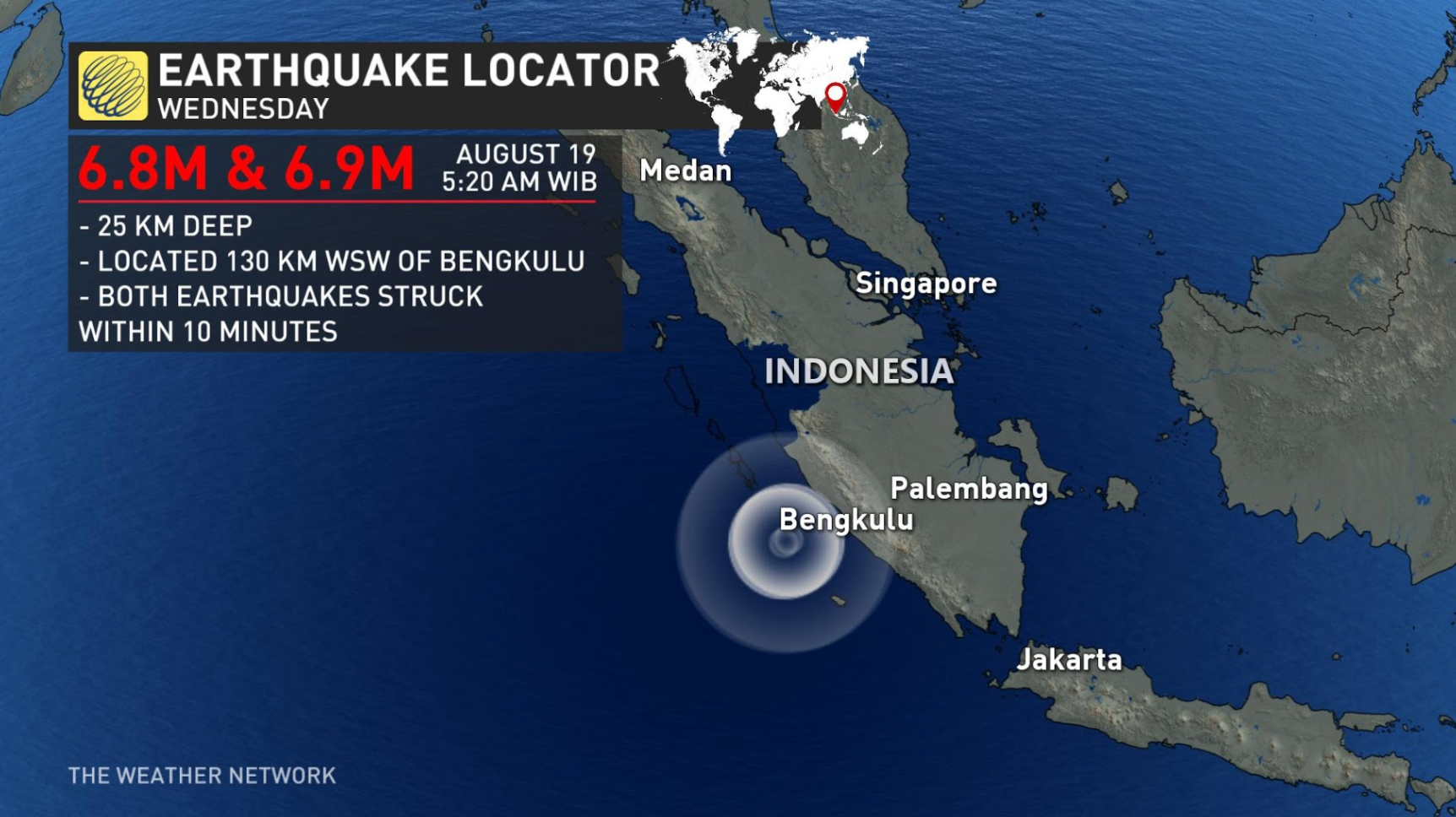 Twin 6.8 & 6.9 magnitude earthquakes strike Indonesia