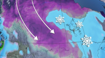 Heavy, blowing snow, up to 15 cm, inbound for Manitoba