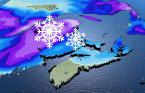 Atlantic: Swath of spring snow with wintry weather system, possible strong winds