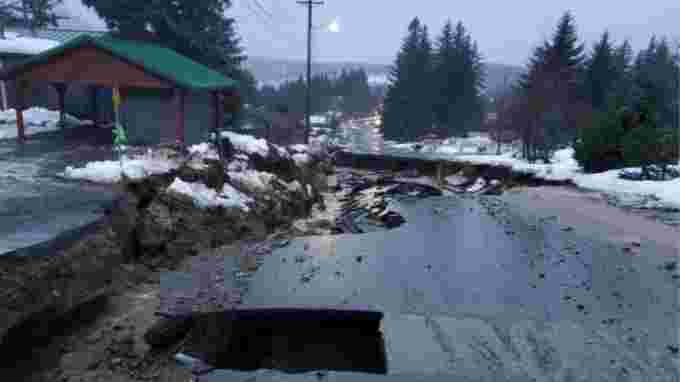 CBC: Young Road in Haines, Alaska, photographed around 8 a.m. local time on Dec. 2. Heavy rains have caused roads in town to wash out, cutting off some residents from town as well as access to the airport and ferry dock. (Erik Stevens)