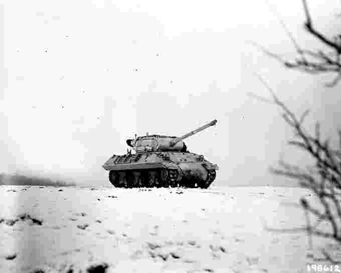 Tank snow battle of the bulge US Army Wikimedia Commons