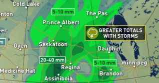 Prairies: Heavy rainfall brings risk of isolated flooding