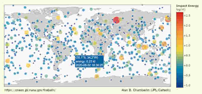 Fireball-Map-NASA-CNEOS