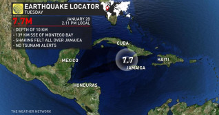 Major earthquake near Jamaica followed by numerous aftershocks