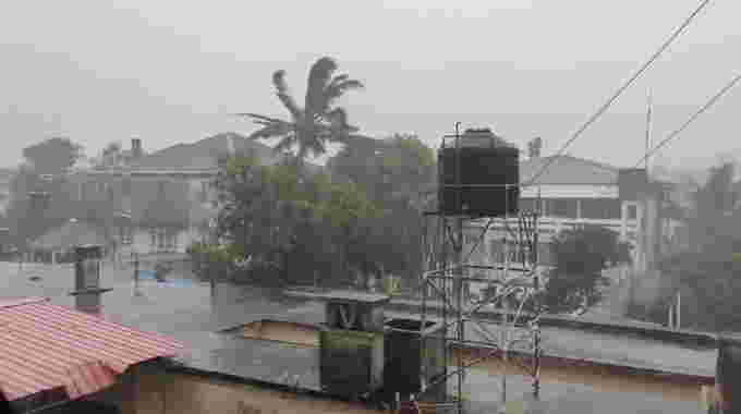 Rain falls before the landfall of cyclone Eloise in Beira, Mozambique January 22, 2021, in this still image taken from a video obtained from social media. Video obtained by REUTERS