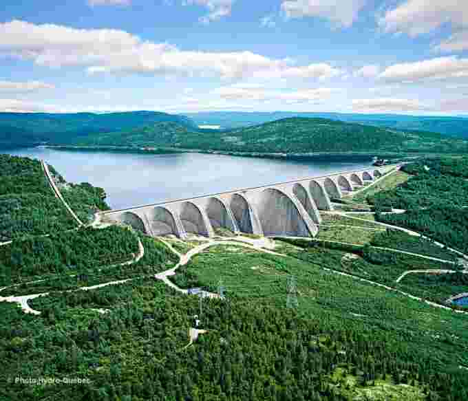 Hydroelectricity makes up more than half of Canada's energy generation. Image: Daniel Johnson Dam, courtesy Hydro Quebec