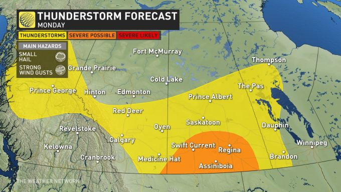 The Weather Network - Prairies: Severe storms close out ... on whitehorse weather, airdrie weather, quebec weather, saskatchewan weather, new york weather, yellowknife weather, sault ste. marie weather, alberta weather, nunavut weather, regina weather, manitoba weather, saint john weather, new brunswick weather,