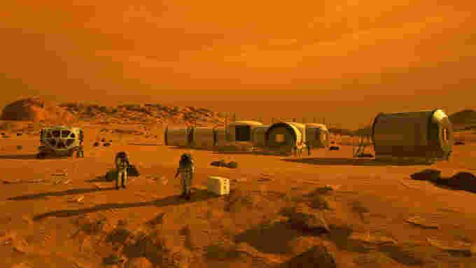NASA Mars astronauts base rover