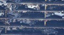 Stranded ship cut open, revealing 4,000 cars inside