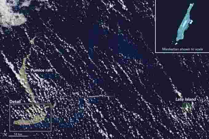 Pumice island comparison NASA observatory