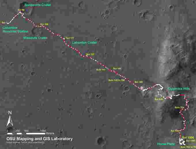 Map of the movement of the Spirit rover up to 2008.