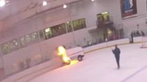 WATCH: Ice resurfacing machine bursts into flames at New York rink