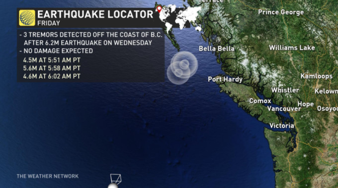 The Weather Network - 3 earthquakes detected within minutes