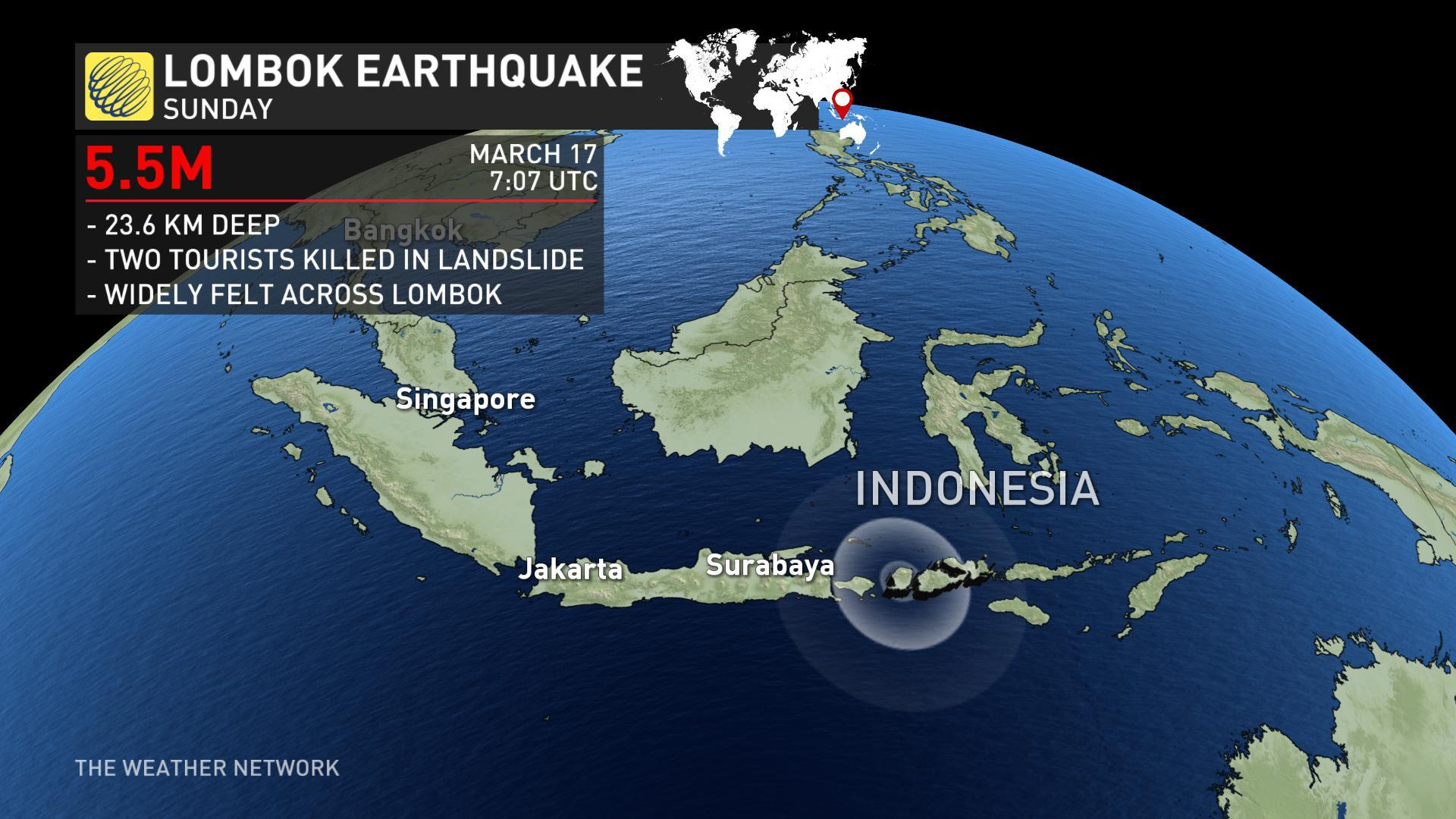 Indonesia quake: Two dead and tourists TRAPPED after deadly landslides strike Lombok