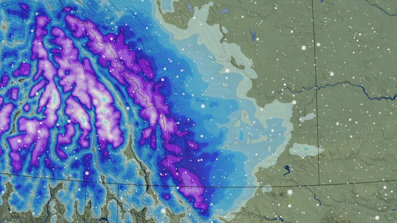 Measurable snow on the doorstep for Alberta with a significant chill