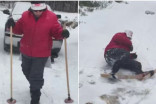 Makeshift skiing at the cabin gets laughs — and 200K views