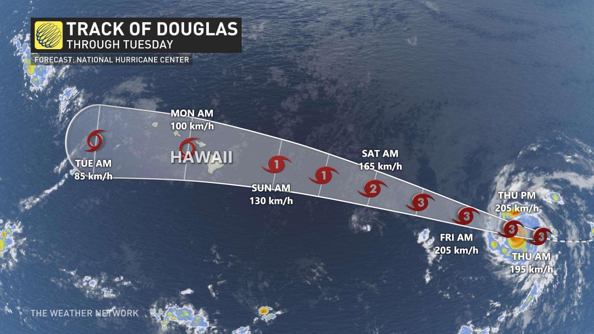 Hawaii bracing for rain, wind, surf impacts from major Hurricane Douglas