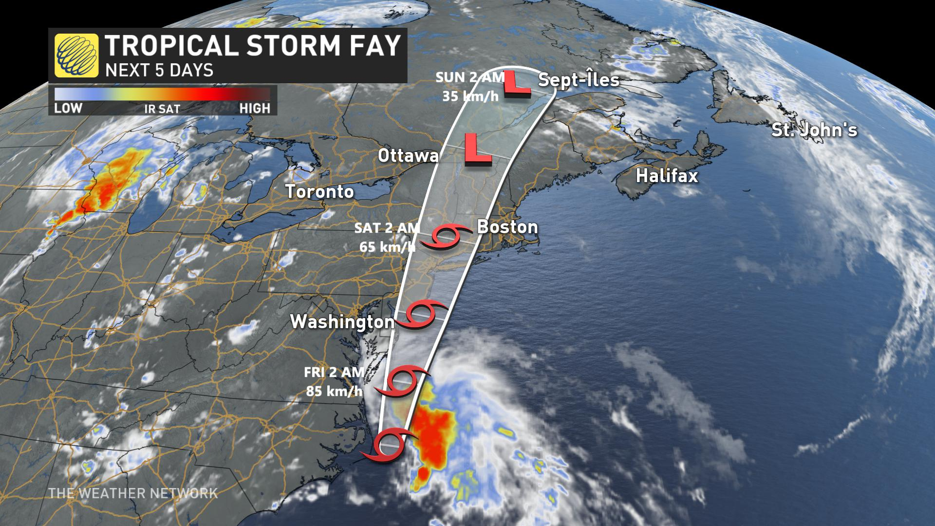 Tropical Storm Fay sets sight on mid-Atlantic coast