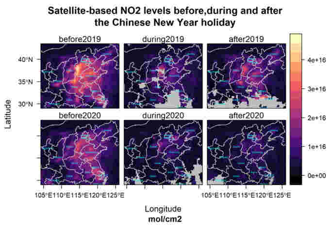 NO2 changes during before and after New Years break. Source: OMI-NASA