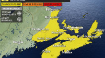 Atlantic: Widespread thunder threat brings heavy rain, strong winds