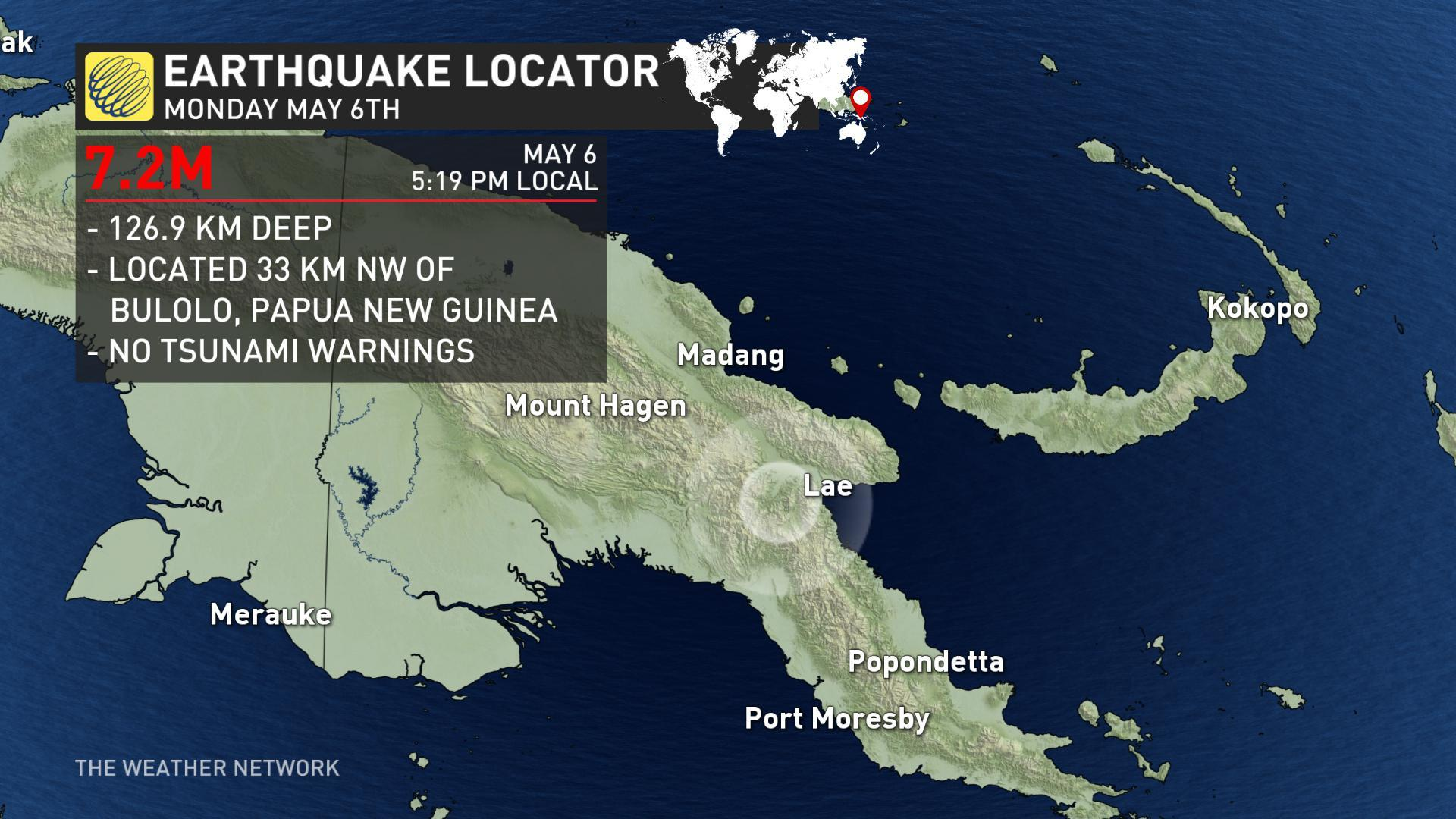 7.2 quake hits Papua New Guinea, no early damage reports