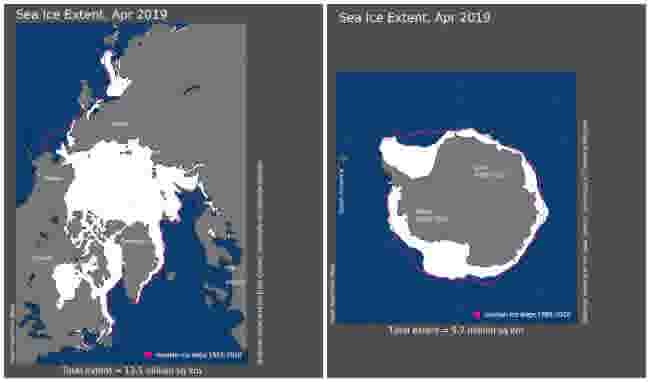 April-2019-Arctic-and-Antarctic-Sea-Ice-Extent-Maps