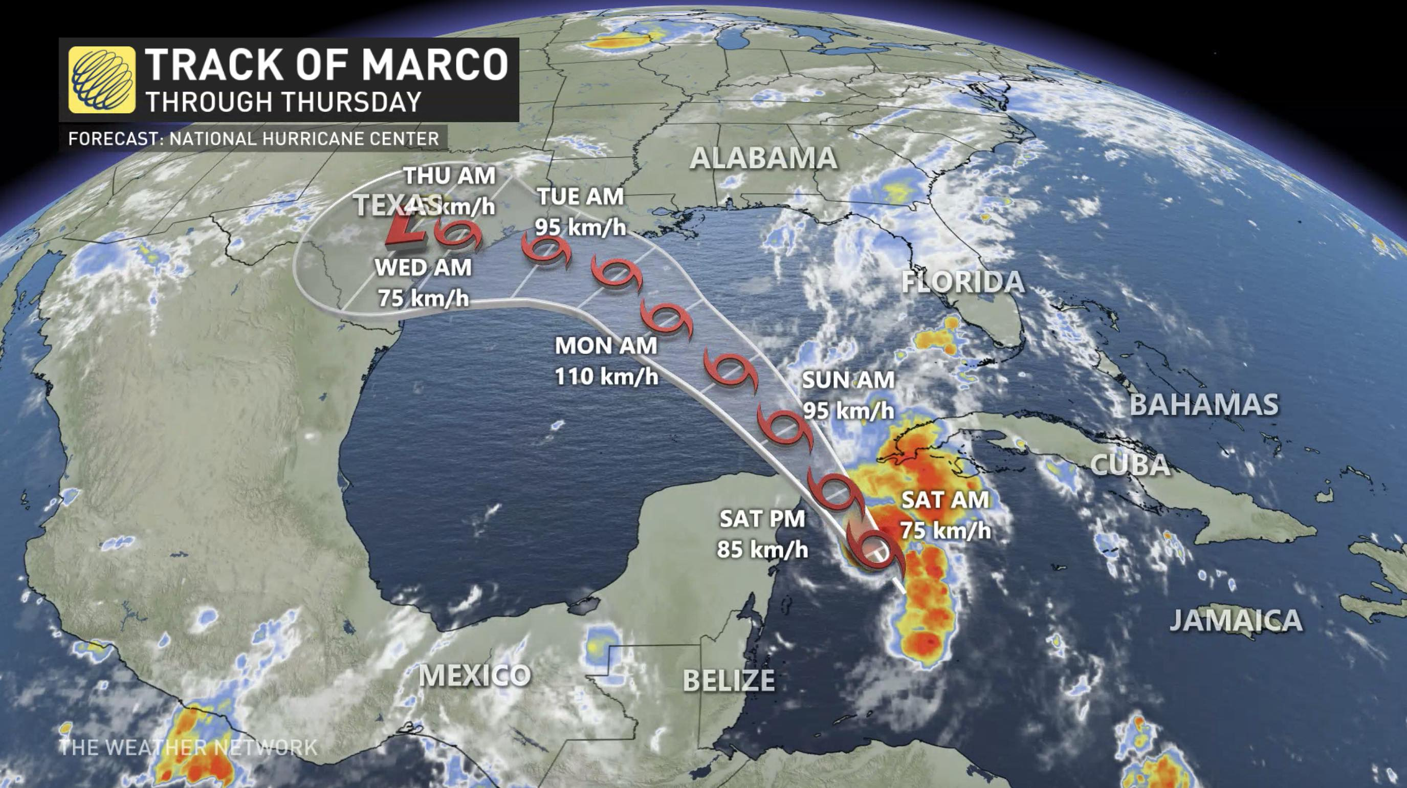 Hurricane watches issued along Gulf Coast as Marco strengthens