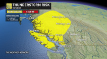 B.C.: Thunderstorm risk on Sunday as heavy rain continues