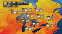 Ontario: Unbearably hot temperatures accompany isolated downpours