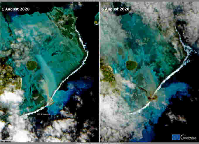 A combination handout photo shows the waters near Pointe d'Esny before and after the oil leak from the bulk carrier ship MV Wakashio, in Pointe d'Esny, Mauritius, on August 1, 2020 and August 6, 2020 in these Copernicus Sentinel-2 imageries obtained by Reuters on August 9, 2020. Courtesy of EUROPEAN UNION, COPERNICUS SENTINEL-2 IMAGERY/Handout via REUTERS.
