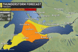 Ontario: Chance of severe thunderstorms, scattered showers