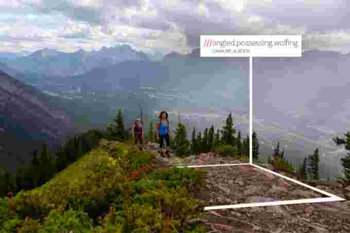 What3words screenshot canmore alberta