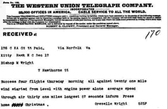 Telegraph sent from the Weather Bureau Office in Kitty Hawk by Orville Wright