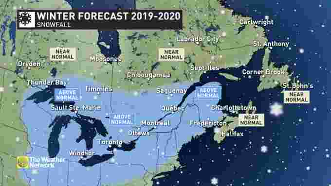 Winter forecast eastern snowfall