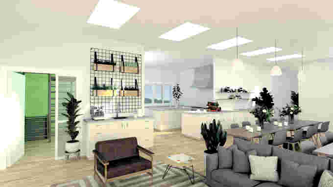 Ecovillage renderings from inside the Common House