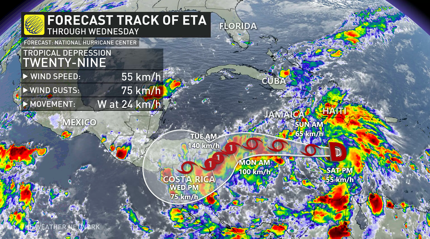 Tropical Storm Eta forms, ties record for most named storms