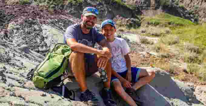 Dion Hrushkin, left, along with his son Nathan. (Nature Conservancy of Canada/CBC)