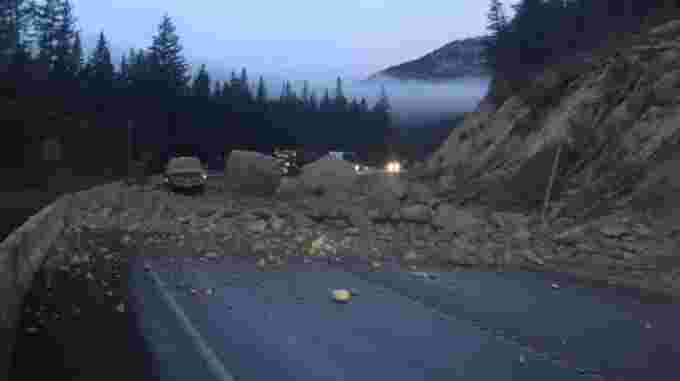 CBC: B.C.'s Ministry of Transportation tweeted a photo of a rock slide that has forced the closure of Highway 93 in both directions. (Drive BC)